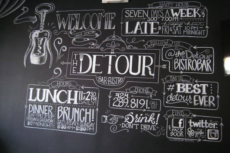 Chalk-Wall-The Detour-Bistro-Bar - Culver City - Dreams in Heels