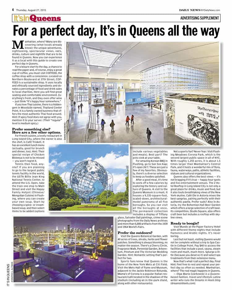 For a Perfect Day is in Queens all the way - NY Daily News - Its in Queens - Queens Tourism