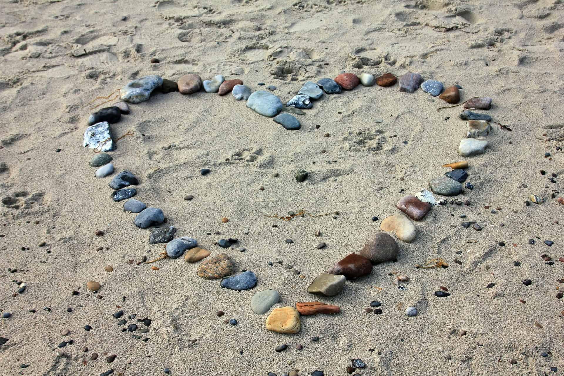 beach, sand, hearts