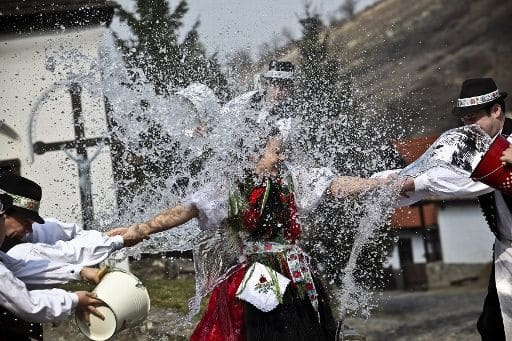 """Oblievačka"" (water pouring) is a typical Easter Monday custom in Slovakia. On this day men visit their female relatives and friends and pour water on them or spray them with perfume, and whip them gently with special whips made of braided willow rods. According to tradition, pouring water on women will guarantee their beauty and good health throughout the year."