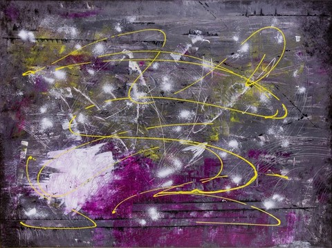 "In ""Energy,"" the gray tones plainly depict the loss of her mother. But the lines of white and purple project her vast reserve of spirit and stability. The mix of yellow then injects a sense of joy, happiness and energy."