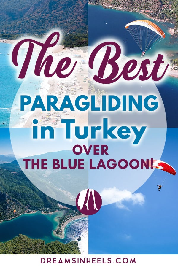 Visiting Turkey and feeling adventurous? Go paragliding! Here is the full experience of how I even arrived at this moment and how I jumped from Babadag Mountains over the famous blue lagoon in Oludeniz Beach, Turkey. In this guide you can find all you need to know about Tandem paragliding in Oludeniz (near Fethiye). It is consider the best paragliding in Turkey! #Turkey #Turkish #paragliding #fethiye #oludeniz #bluelagoon #turkiye #turkeytravel