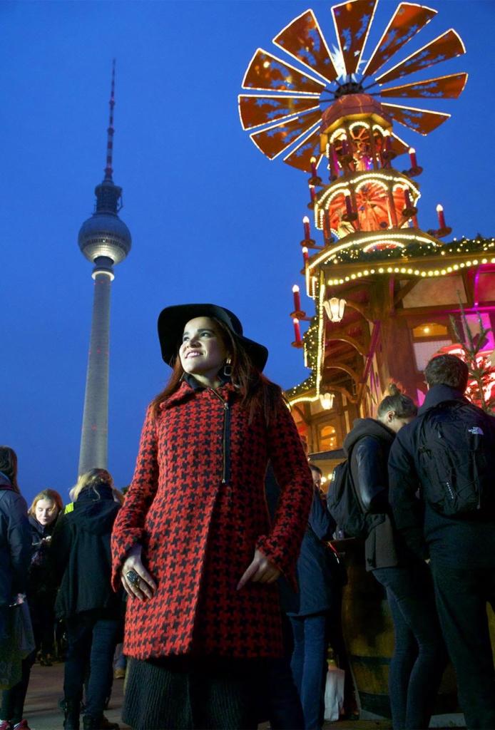 wearing Tessa Koops Coat in Alexander Platz Berlin