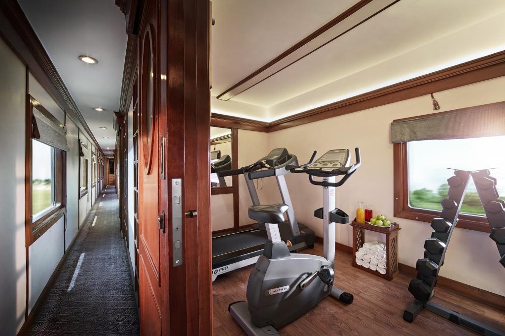 Gym inside The Deccan Odyssey Luxury Train in India