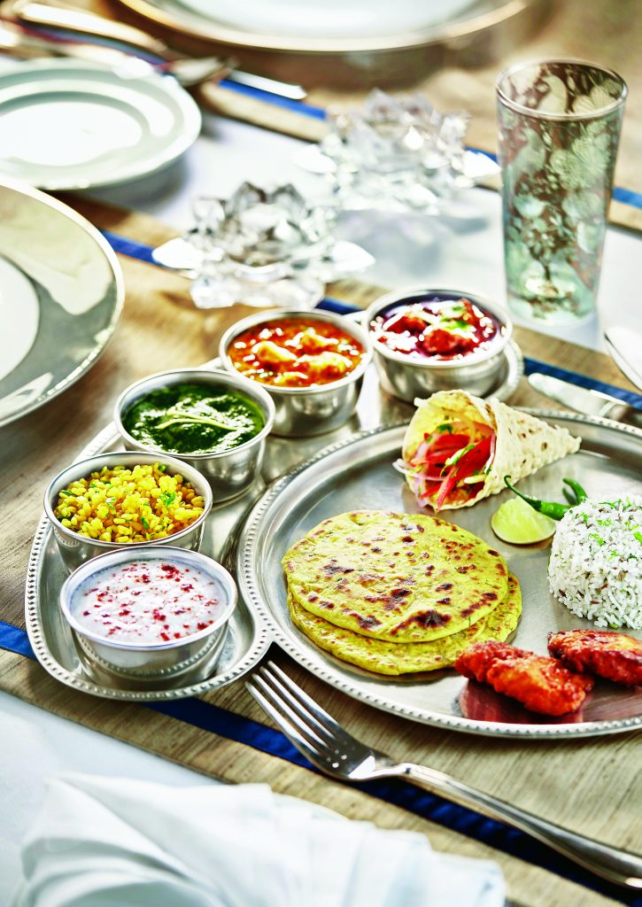 Vegetarian and Non Vegetarian Indian Thali aboard The Deccan Odyssey