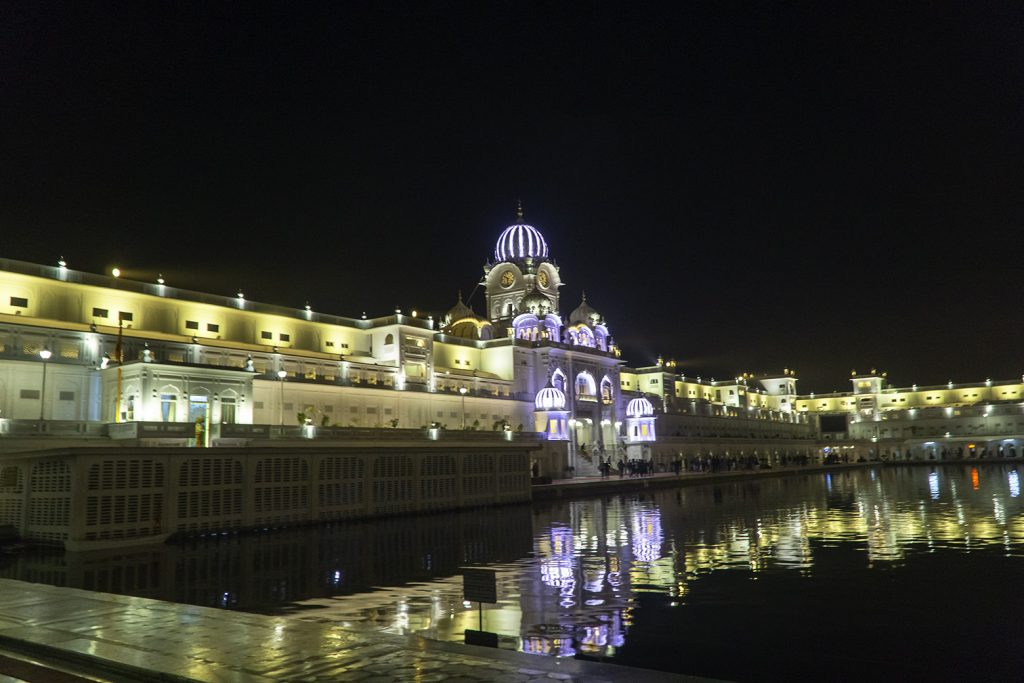 The Golden Temple in Amritsar at night time