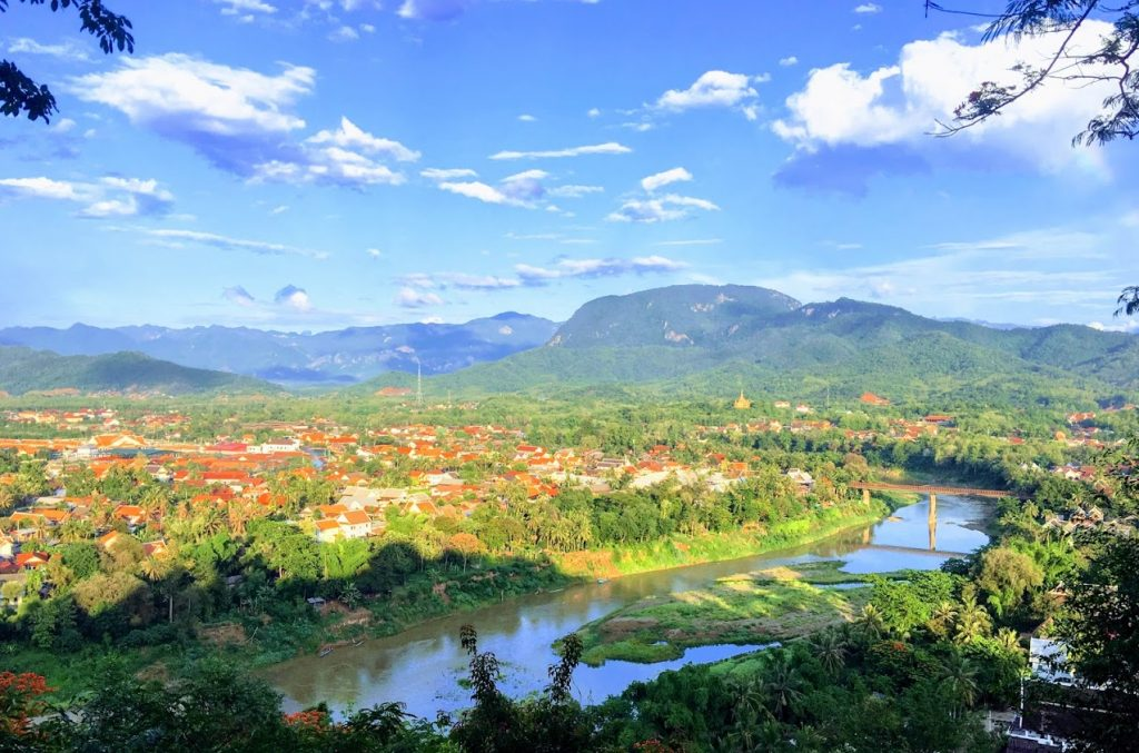 View from the top of Mount Phousi in Luang Prabang Laos Asia