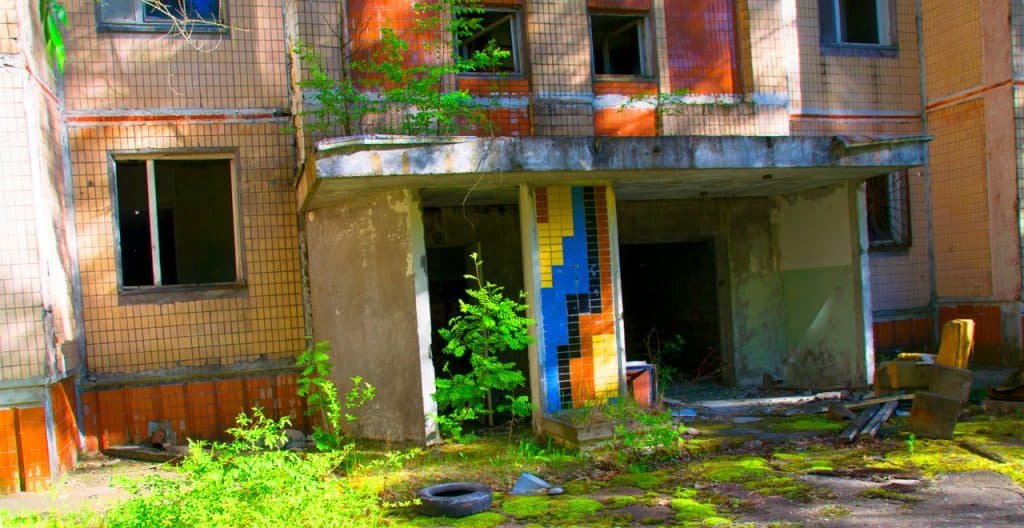 chernobyl today: apartment buildings at chernobyl exclusion zone
