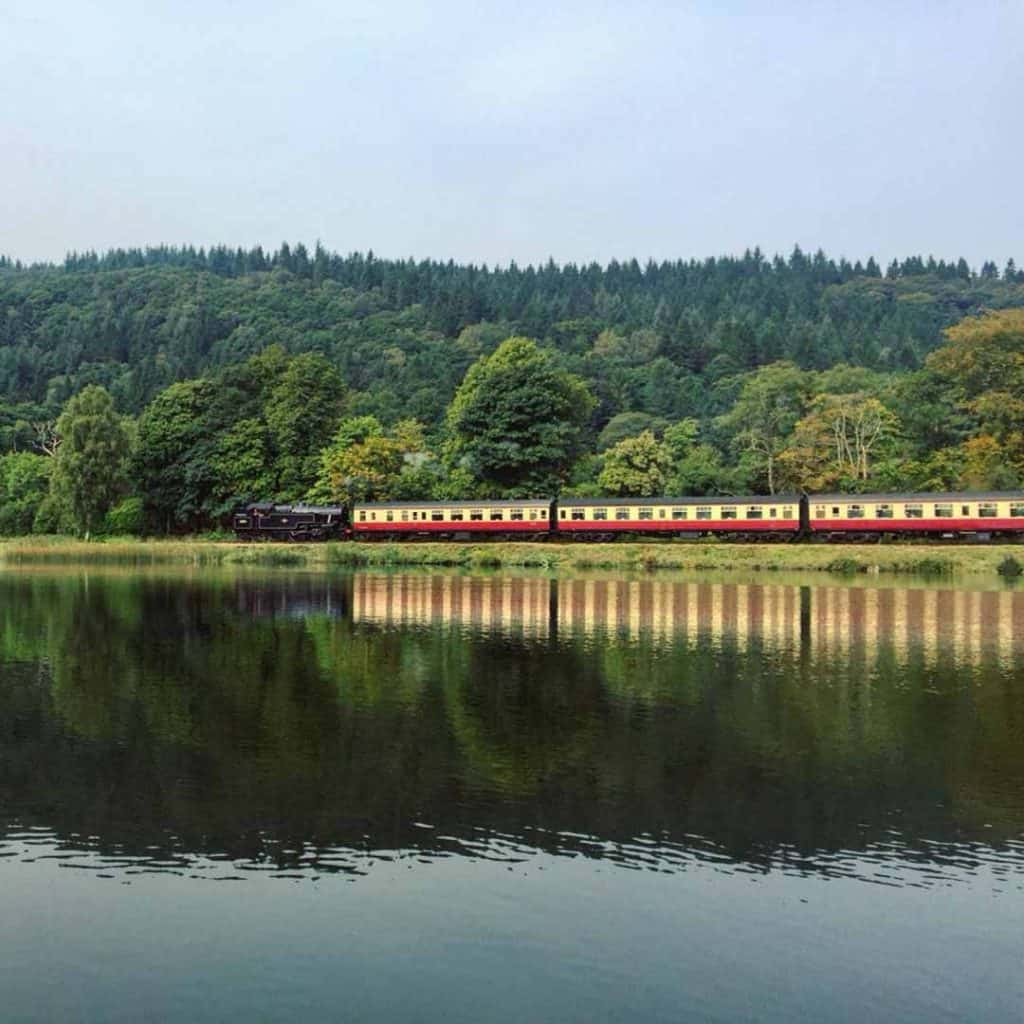 Lakeside and Haverthwaite steam train-Lake District-UK