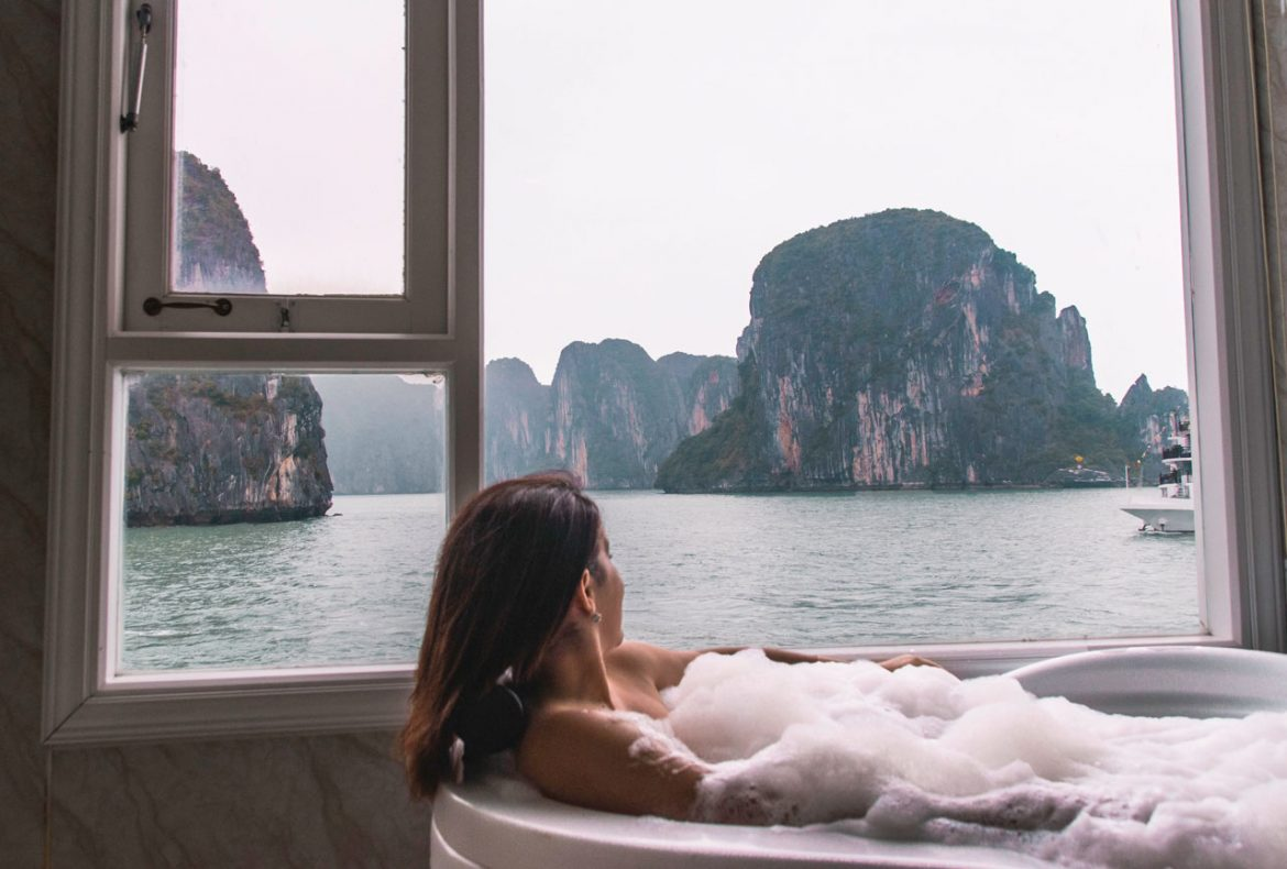 Olga Maria Dreams in Heels Halong Bay cruise overnight luxury experience - 2 day 1 night cruise with Ancora Cruises