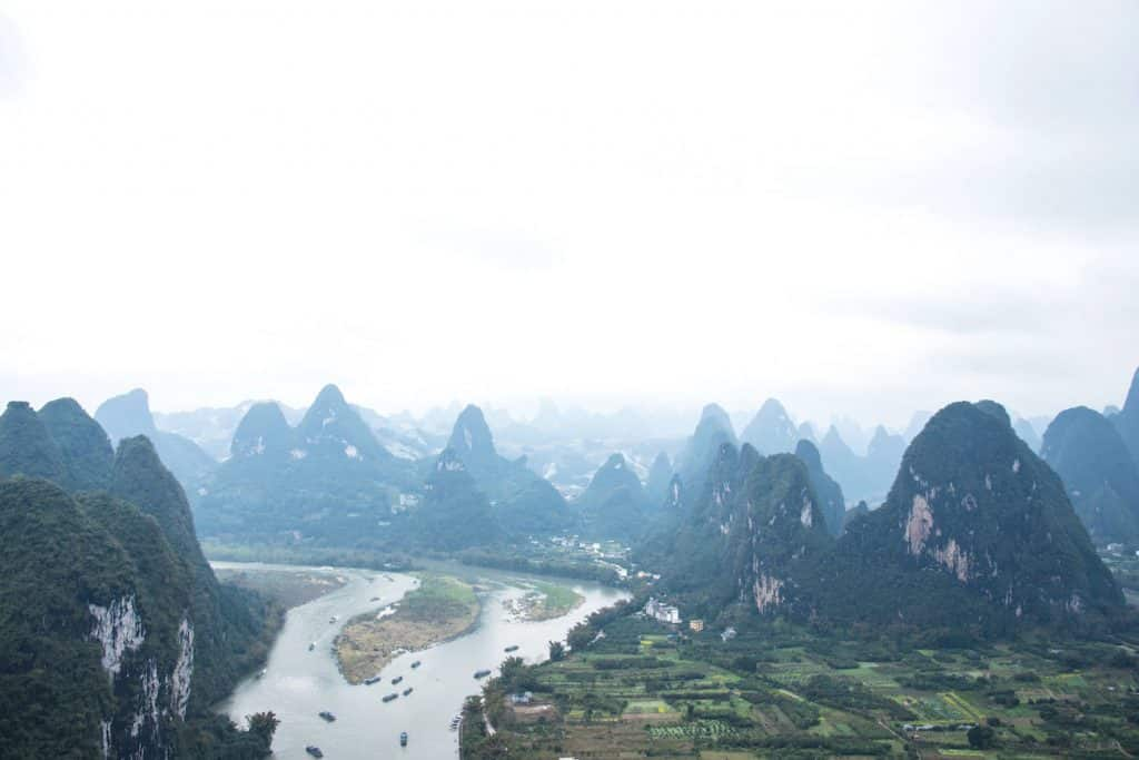 Xianggong Mountain viewpoint in Yangshuo China