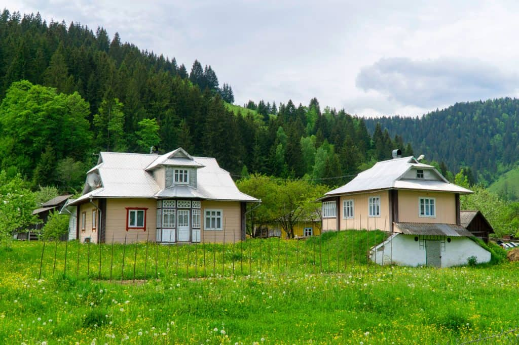 Hutsul village in the Carpathian Mountains of Ukraine