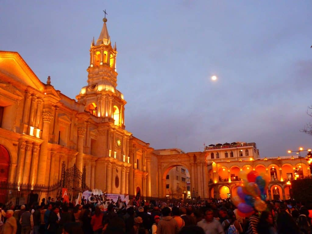 the Basilica Cathedral of Arequipa Peru