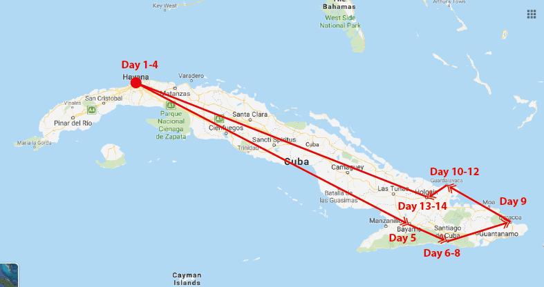 Oriente itinerary